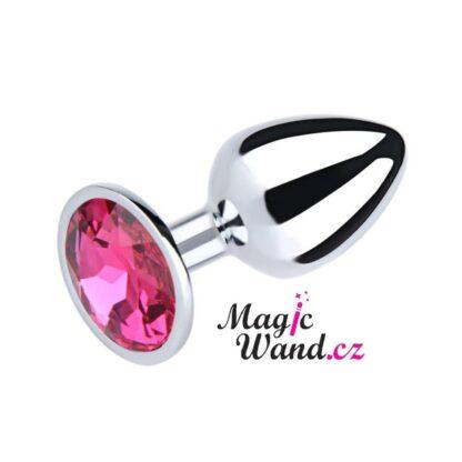 Ocelový anální kolík s kamínkem velikost S - růžový