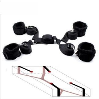 BDSM - Bondage set pod matraci s plyšovými pouty