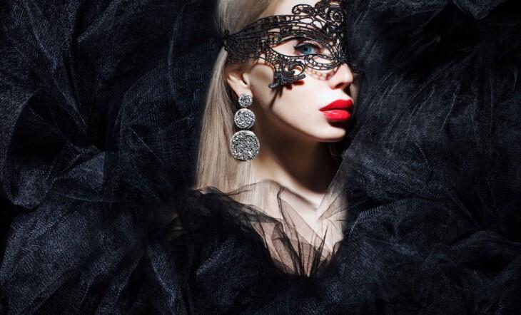 Sexy maska/škraboška krajková černá