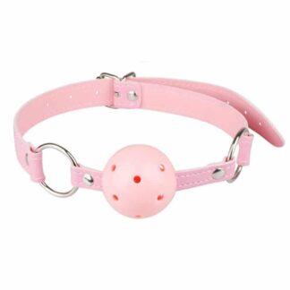 Koženkový roubík kulička růžový