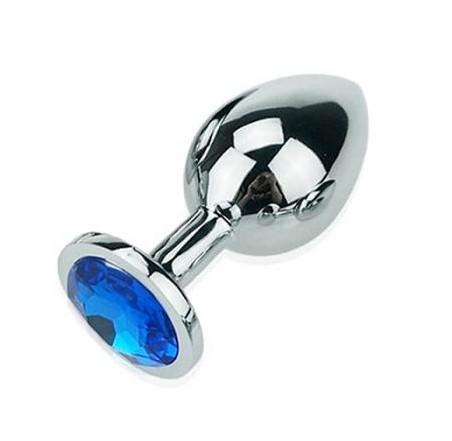 Ocelový anální kolík s kamínkem velikost M - modrý