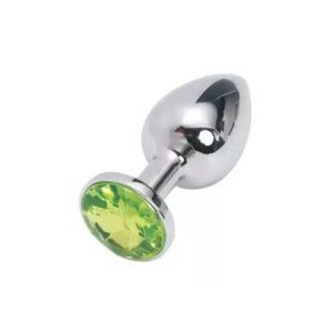 Ocelový anální kolík s kamínkem velikost S - zelený