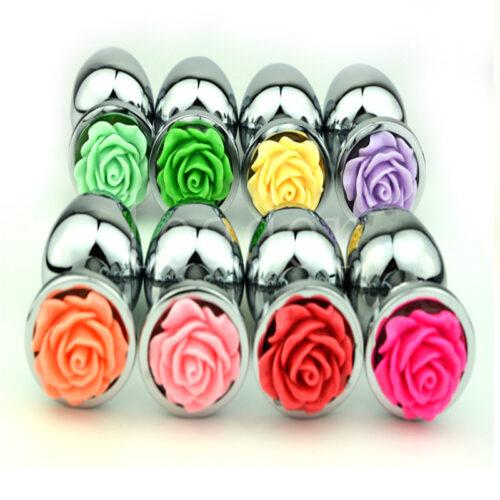 HTB14SohMXXXXXaqXXXXq6xXFXXXt 500x500 - Ocelový anální kolík s růží velikost S - světle růžová