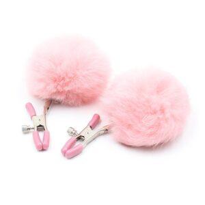 Kolíčky na bradavky s bambulkou růžové