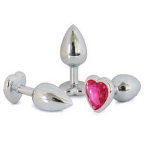 Ocelový anální kolík s kamínkem ve tvaru srdce