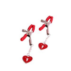 Kolíčky na bradavky červené se srdíčky