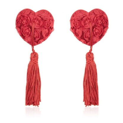 Srdcové nálepky na bradavky s třásněmi - červené